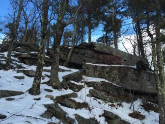 Rocky outcroppings along the Boulder Loop trail.