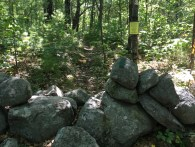Stone wall, which I believe divides the conservation land from private property.