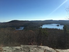 From the summit of Mt. Shannon, looking over Hill's Pond (left) and Sunset Lake (right).