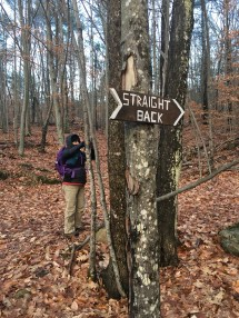 At the start of the trail on Old Stage Road.