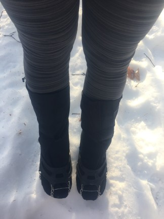 I wore my microspikes over my new Huron gaiters (which cover my toes), over my trail runners. Coupled with some cozy wool socks, my tootsies stayed nice and warm the whole time.