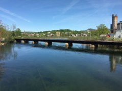 Crossing the river along Fair Street in downtown Laconia.