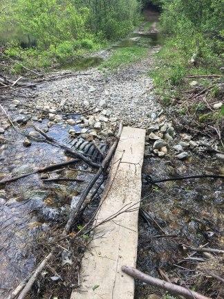 Planks for crossing the marsh runoff.