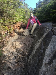 """Beginning the """"steep and ledgy descent"""" off the summit cone on the way to Mt. Webster via the Webster Cliff trail."""