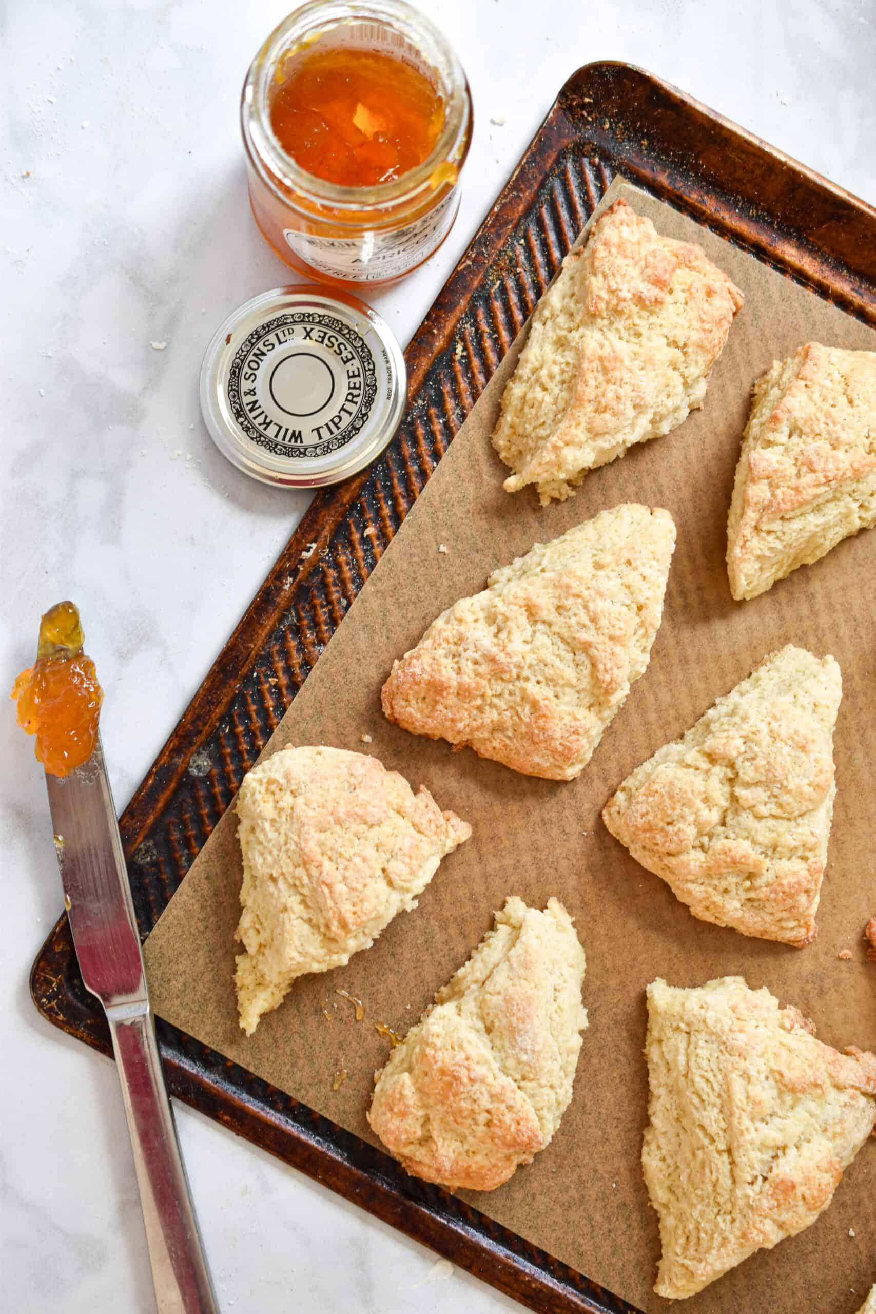 Sourdough Discard Scones laid out on a baking sheet