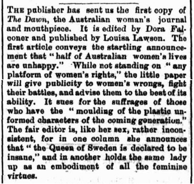 """Louisa Lawson. """"And why shouldn't a woman be strong and"""