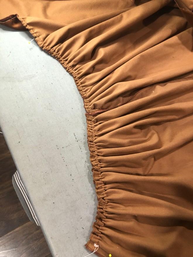 velvet skirt gathering