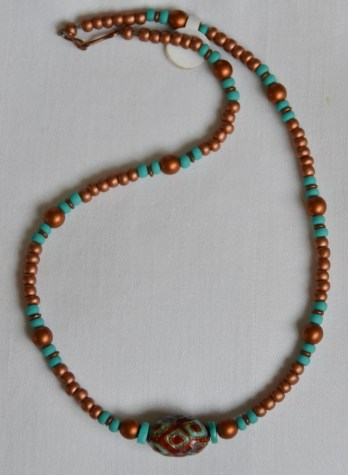 Copper and turquoise beaded necklace
