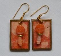 Orange decoupage earrings