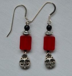 Pewter cat head earrings