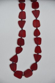 Red recycled glass and crystal necklace