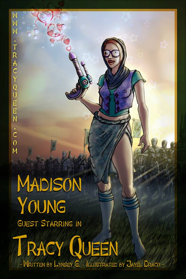 Madison Young with her Gasmo Gun. Art by Jayel Draco.