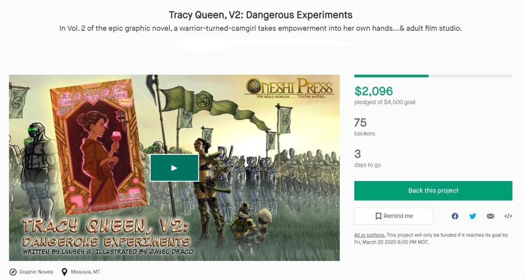 tracy queen v2 dangerous experiments kickstarter screenshot
