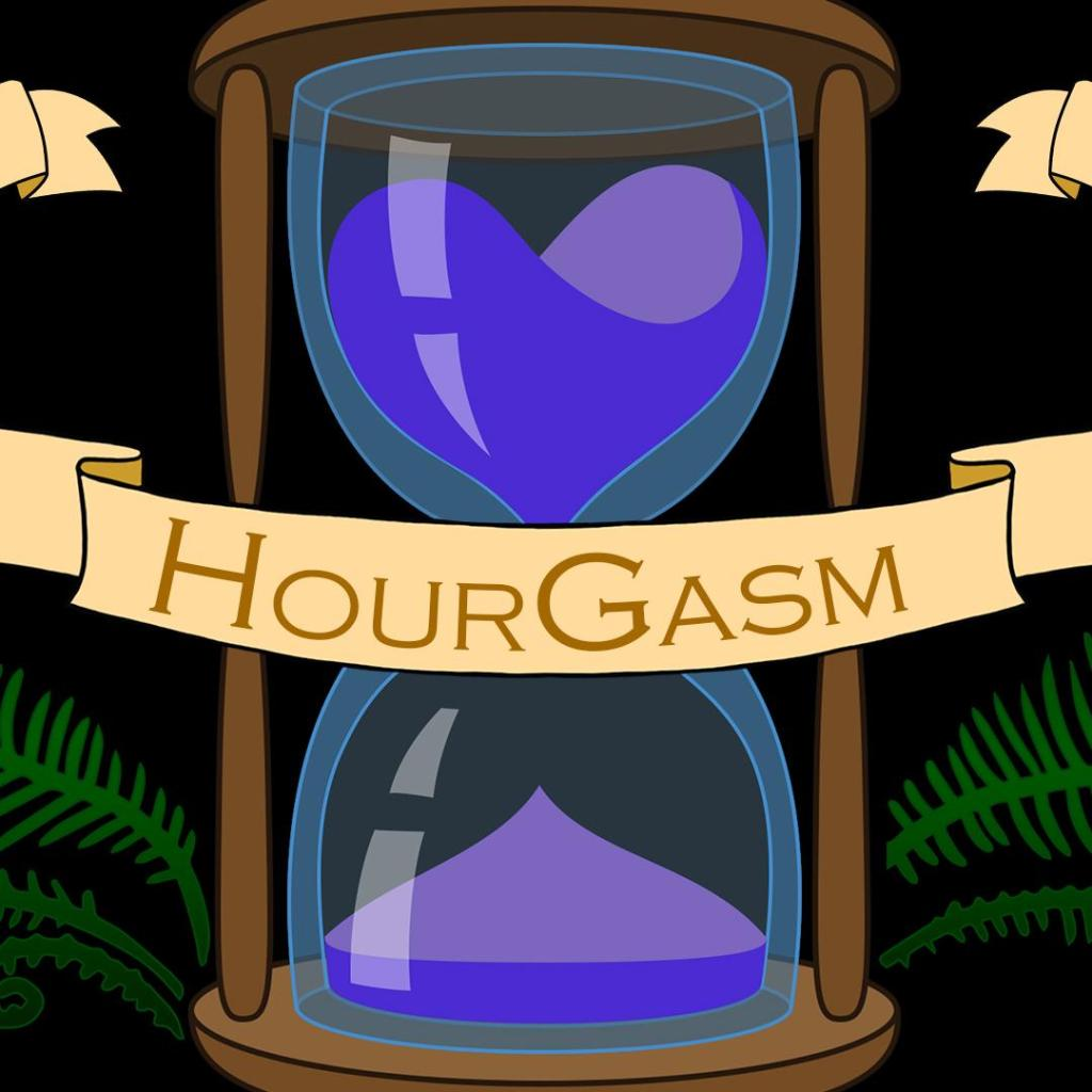 "An hourglass with purple sand and ferns growing out of it is overlaid with a ribbon that says ""HourGasm."""