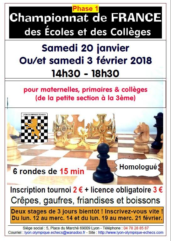 Résultats de la 1ère phase du Championnat de France des scolaires 20/01/18 au LOE ! Rendez-vous le 3 février à présent !