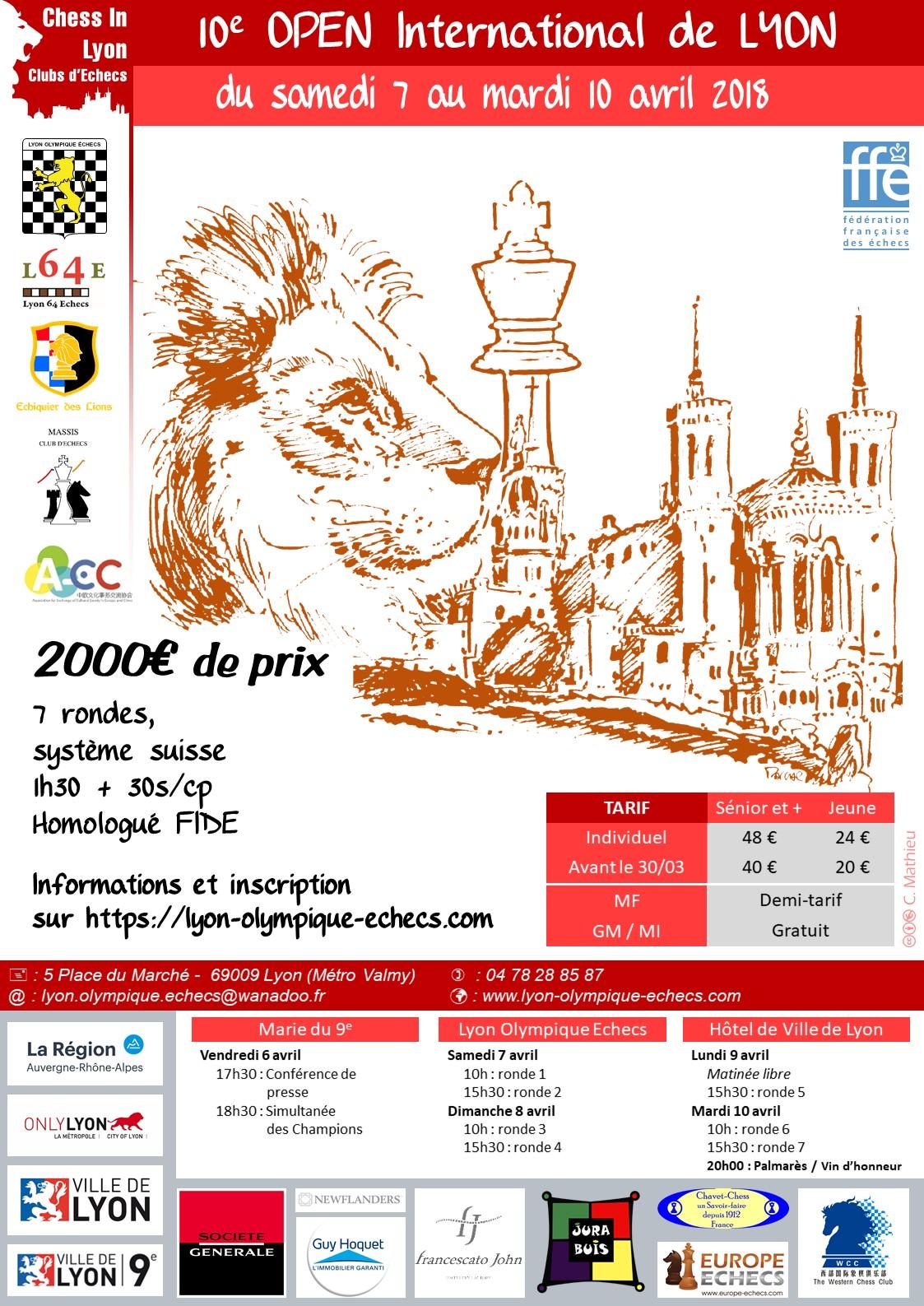 10ème Open International d'Échecs de Lyon du samedi 7 au mardi 10 avril 2018 ! Conférence de presse et simultanées géantes le vendredi 6 avril
