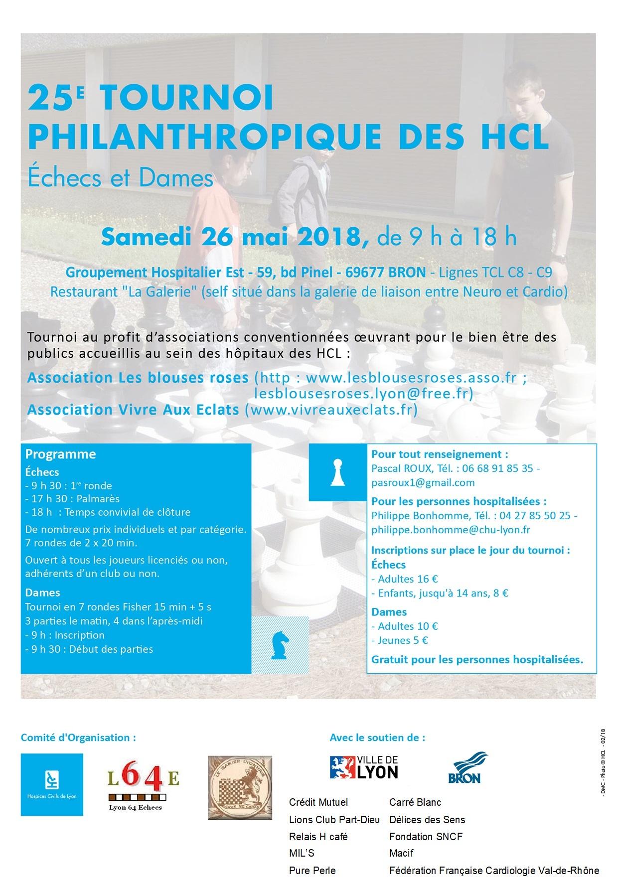 Tournoi des Hôpitaux, Echecs et Dames , fêtera sa25èmeédition, samedi 26 mai 2018
