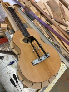 Bridge is glued and clamped