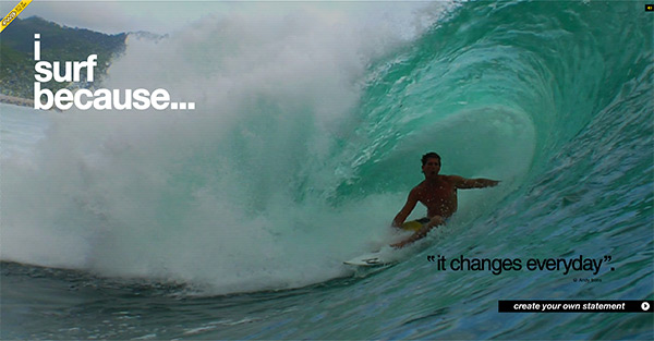 I Surf Because in 50 Creative Full Screen Video Background Websites