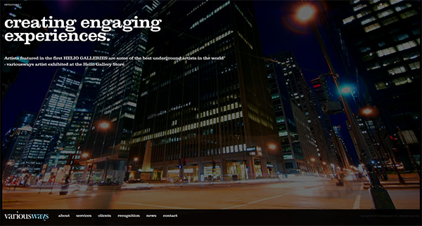 variousways in 50 Creative Full Screen Video Background Websites