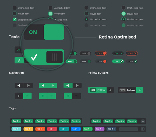 Vertical Infinity UI Kit Free PSD by cssauthor.com in 35 Fresh, Free and Flat UI Kits