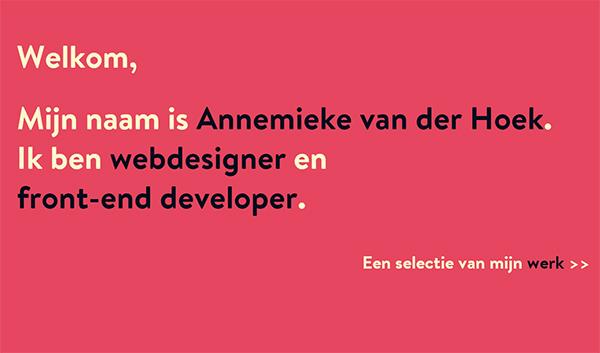 Annemieke van der Hoek in 45 Modern Minimal Websites