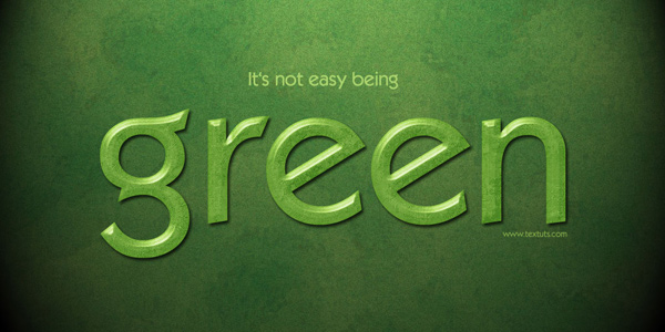 Elegant Green Text Effect in 40 Creative Photoshop Text Effect Tutorials