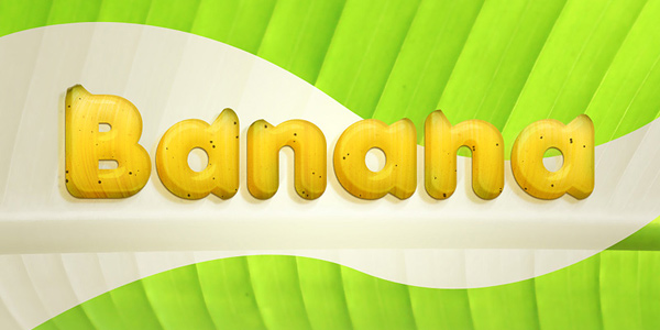 Banana style text effect in 40 Creative Photoshop Text Effect Tutorials