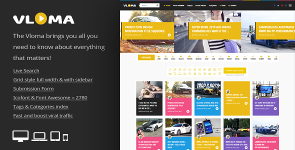 Vloma Grid - A Responsive WordPress Video Blog Theme