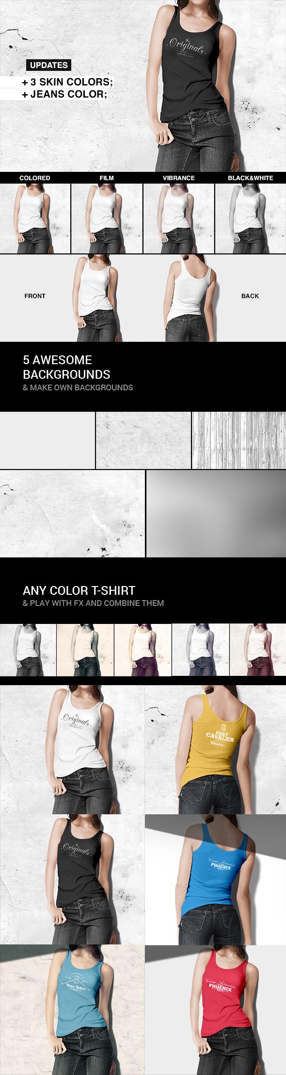 T-shirt / Tank Shirt Bundle Mockup Template