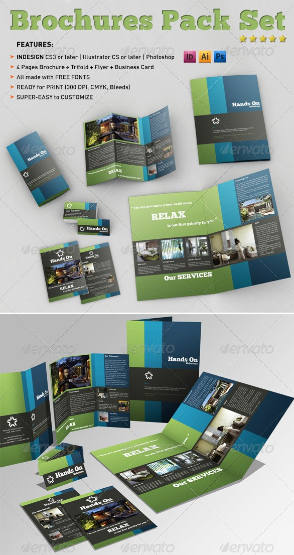A4 and Tri-fold Brochures Pack with Business Card