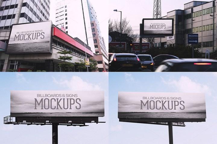 fantastic premium outdoor advertising billboard mockups psd