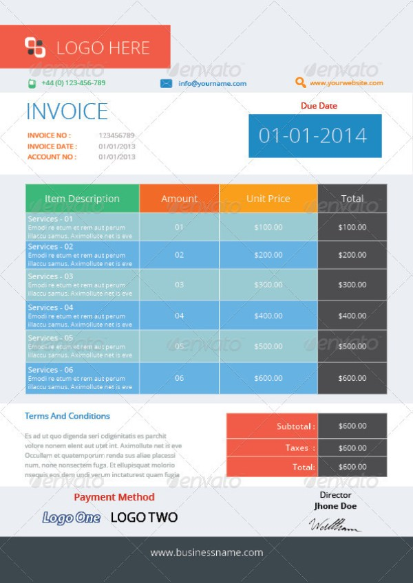 Business Invoices Templates