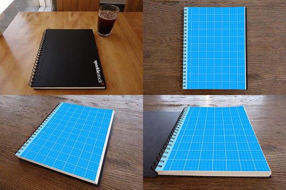 Photorealistic Sketchbook Mockups PSD
