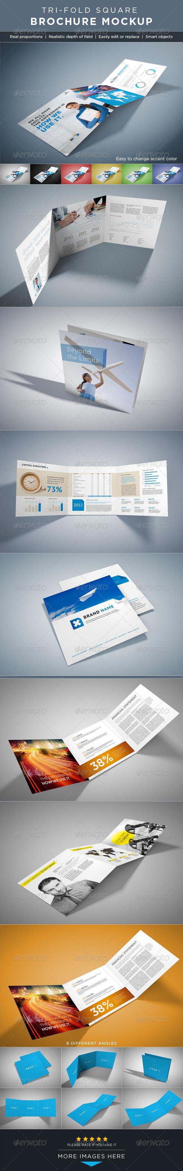 Square Tri-Fold Brochure Mock-ups
