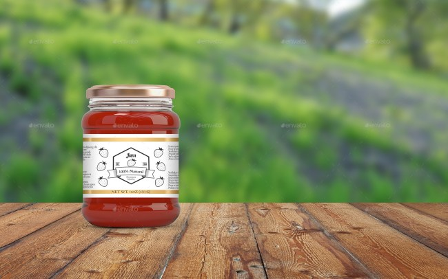 4 Jam and Honey Glass Jars Mockup