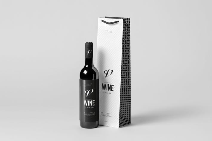 Wine Bag & Bottle Mock-up