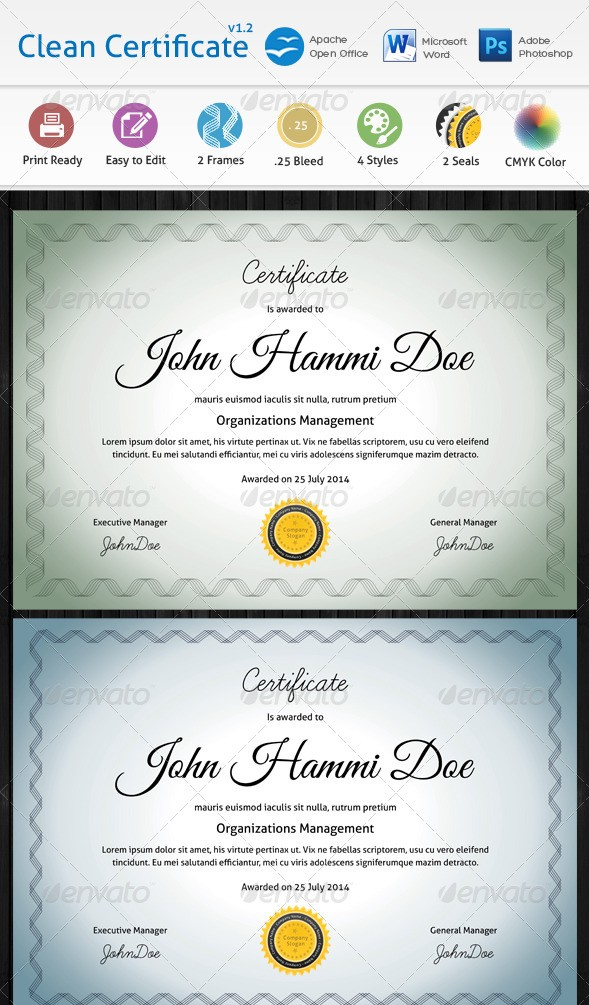 Clean Certificate Templates