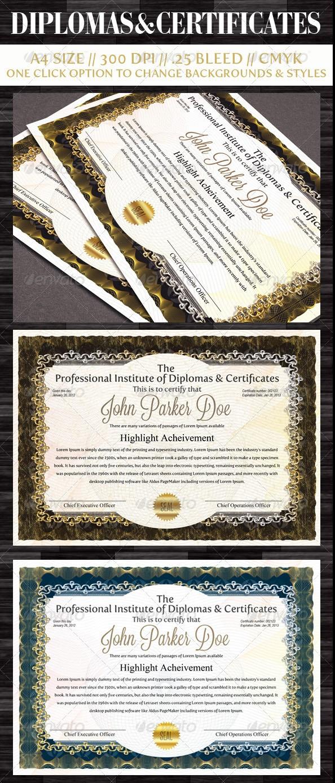 Diplomas & Certificates Templates