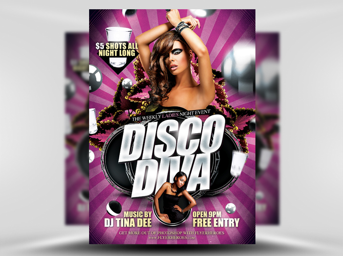 Disco Diva Free Flyer Template