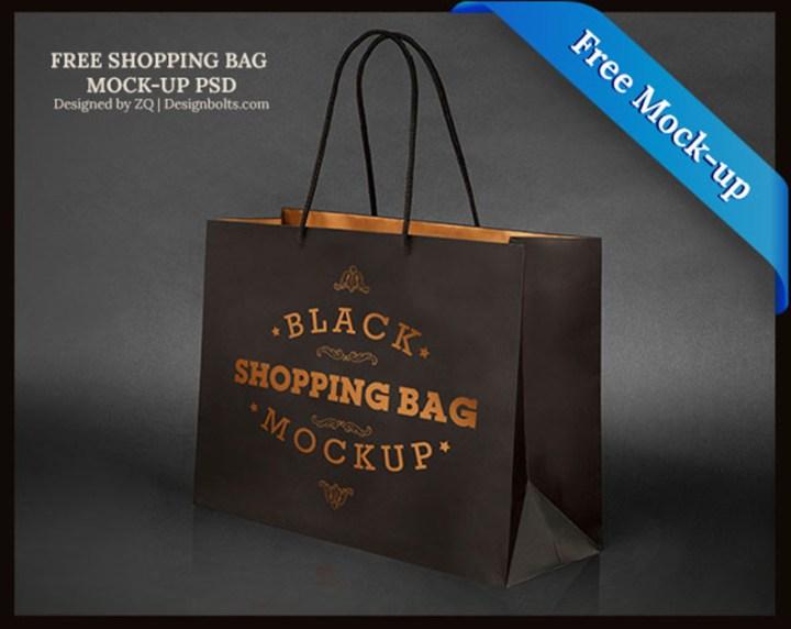 great black shopping bag mockup psd free version