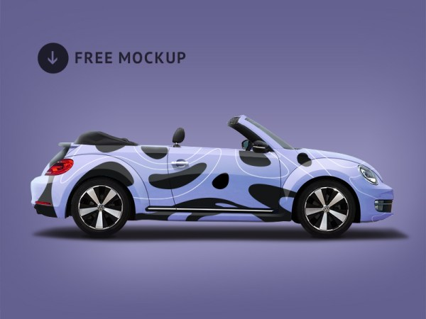 Free Volkswagen Beetle Branding Mockup