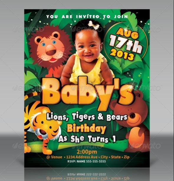 Kid's Birthday Invitation - Lions, Tigers & Bears