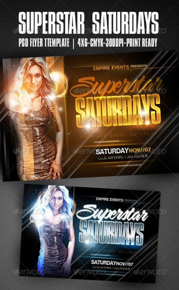 Superstar Saturdays Party Flyer