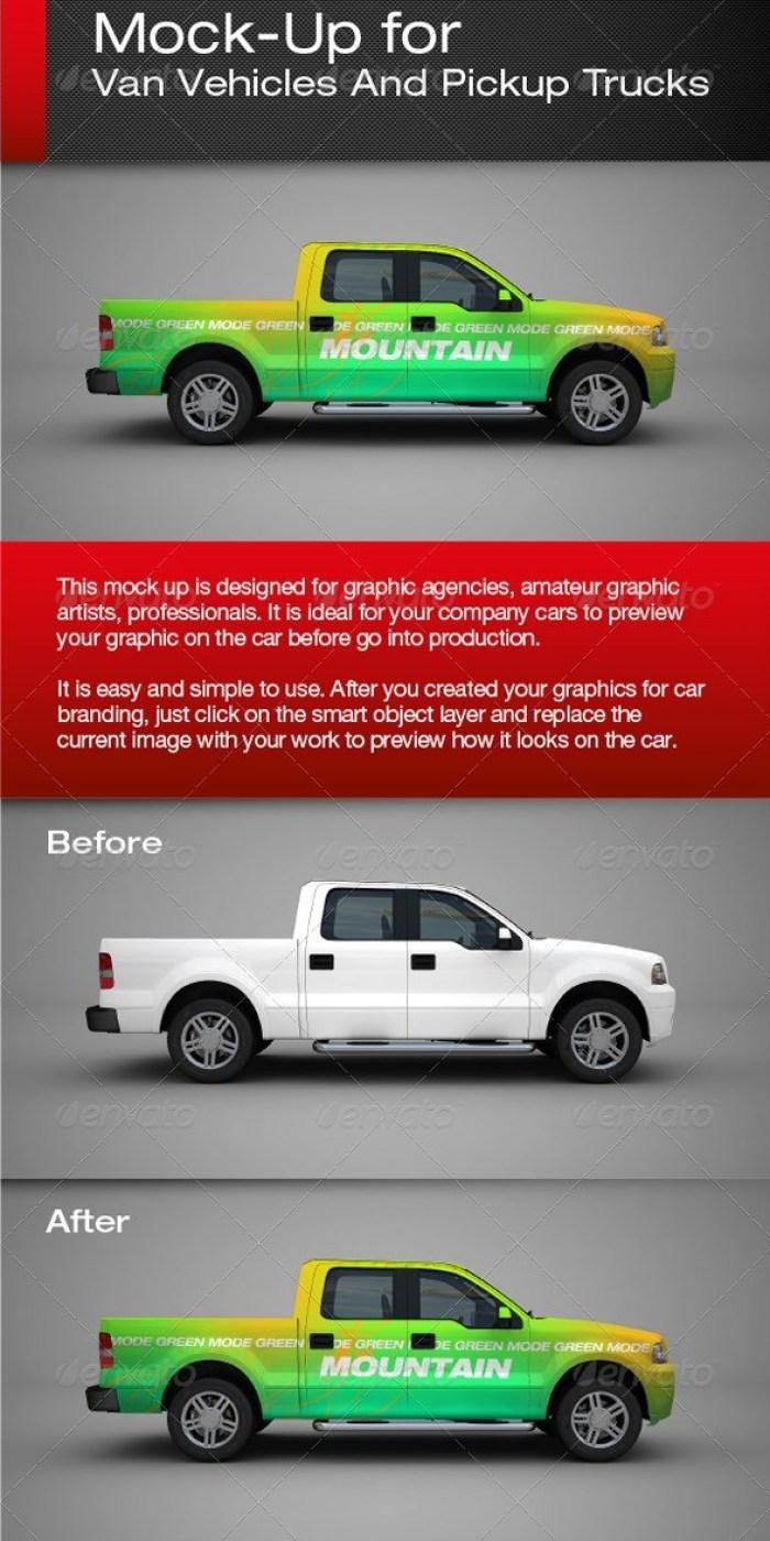 Van Vehicles And Pickup Trucks Mockup