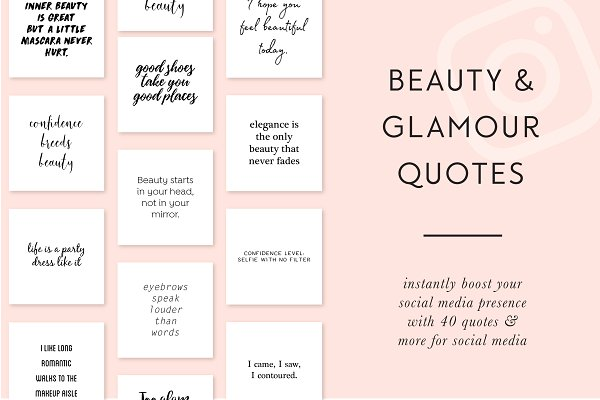 Beauty & Glamour Instagram Quotes