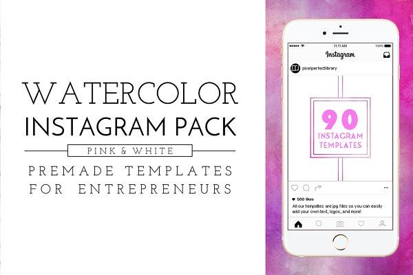 Pink Watercolor Instagram Pack