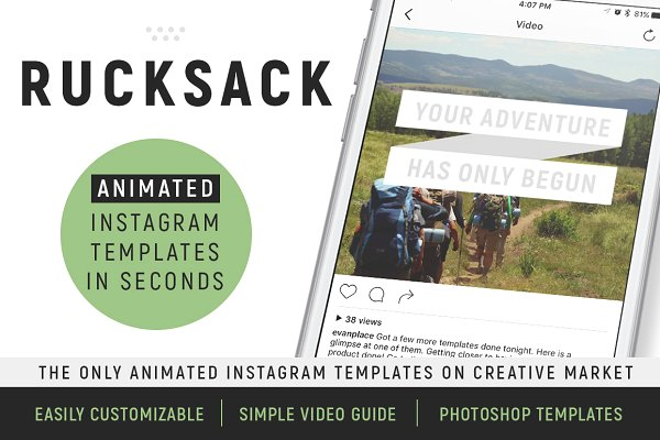 Rucksack: Animated Social Templates