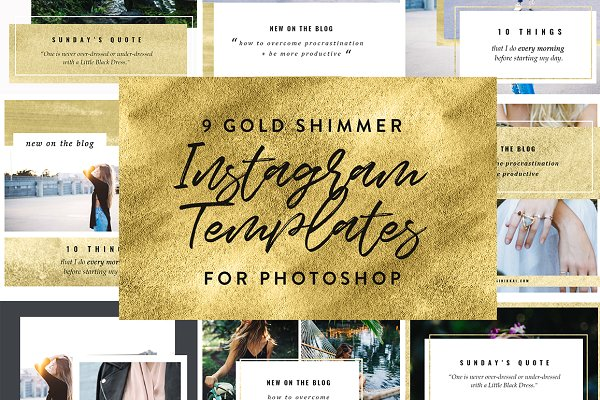 9 Gold Instagram PSD Templates
