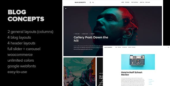 Blog Concepts - Minimalist WordPress Theme for your Blog / Magazine Website